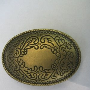 Vintage Floral Designed Brass Western Belt Buckle